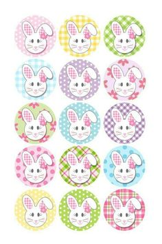 Easter Floppy Ear Bunny Girl With Flowers 1 Inch Circles Collage Sheet Inch JPG Bottlecap Hairbo Bottle Cap Art, Bottle Cap Crafts, Bottle Cap Images, Diy Bottle, Image Sheet, Girls With Flowers, Easter Printables, Collage Sheet, Easter Crafts