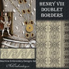 Henry VIII Doublet Borders - Embroidery Designs Set made by Liuba Tabunidze… Blackwork Patterns, Blackwork Embroidery, Cross Stitch Patterns, Jacobean Embroidery, Embroidery Software, Machine Embroidery Patterns, Medieval Embroidery, Border Embroidery Designs, Landsknecht