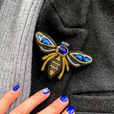 Your place to buy and sell all things handmade Bee Jewelry, Bee Brooch, Handmade Beads, Swarovski Pearls, Beaded Embroidery, Blue Gold, Wool Felt, Gifts For Women, Seed Beads