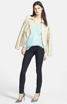 Trouvé V-Neck Sweater & Paige Denim Skinny Jeans  available at #Nordstrom