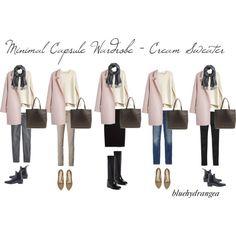 """Minimalist Wardrobe - Cream Sweater"" by bluehydrangea on Polyvore"
