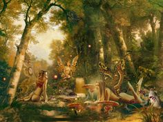 The Fairy Paintings Art Gallery:The Celtic Faerie Art of Howard David Johnson featuring Fairy Paintings, Fairy Drawings & Digital Fairy Art Fairy Wallpaper, Wiccan Wallpaper, Wood Wallpaper, Fairy Paintings, Fairy Drawings, Michael Art, Digital Art Gallery, Nature Posters, Fairy Pictures