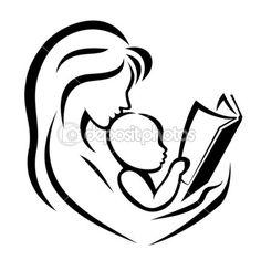 mãe e filho lendo o livro, ilustração vetorial