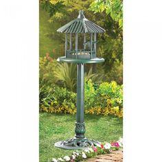 Distressed Shabby White Gazebo Garden Fairy Bird House Decorative