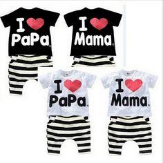 $5.00 (Buy here: https://alitems.com/g/1e8d114494ebda23ff8b16525dc3e8/?i=5&ulp=https%3A%2F%2Fwww.aliexpress.com%2Fitem%2FRetail-2015-children-Clothing-Summer-Set-Boys-girls-I-Love-Papa-and-Mama-short-sleeve-t%2F32395902977.html ) New Summer Kids Clothing Set Boys And Girls I Love Papa and Mama Short Sleeve Tshirt+pants Suit Kids Clothes for just $5.00