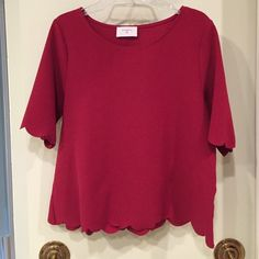 Maroon / red scalloped top Bought from Francesca's, never wore. Slightly stretchy, quality fabric. Sleeves hit just above elbows. Francesca's Collections Tops Tees - Short Sleeve