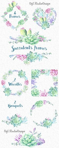 New flowers wreath tattoo etsy 35 ideas Succulent Tattoo, Succulent Frame, Succulent Wreath, Succulents Drawing, Watercolor Succulents, Watercolor Flowers, Watercolor Wedding, Succulents Diy, Wedding Drawing