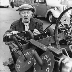 Knife grinder Tommy Watson aged 90 at work with his grinding machine at New Cross, South London, 19/7/1963.