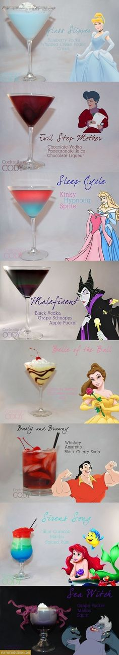 Disney aside, some of these sound deeeelicious. Evil Disney, Disney Food, Disney Theme, Disney Style, Disney Ideas, Disney Cocktails, Cocktail Drinks, Alcoholic Drinks, Cocktail Recipes