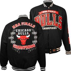 Chicago Bulls Coat Jacket Official NBA Champions Leather Embroidered New  Reversible (Black 132419a357c