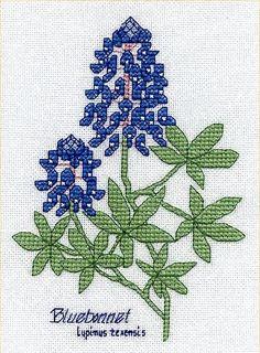 Bluebonnets, found on : http://www.birdcrossstitch.com/CrossStitch/flowers/bluebonnets.html