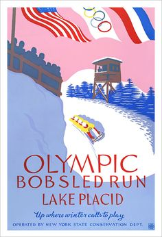 Olympic Art  1932 Lake Placid Olympics Bobsled Run  by aswegoArts, $21.50