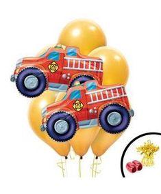 Boys Fire Truck Jumbo Balloon Bouquet - Multi-colored