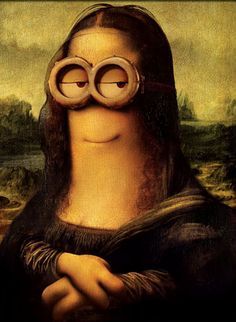 Invade Famous Artwork Minions share a shockingly close resemblance to Leonardo da Vinci's Mona Lisa.Minions share a shockingly close resemblance to Leonardo da Vinci's Mona Lisa. Les Muppets, Appropriation Art, Mona Lisa Parody, Mona Lisa Smile, Famous Artwork, Montage Photo, Funny Wallpapers, Cute Disney, Funny Art