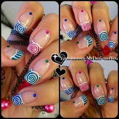 Spring Nail Art | Cute Multicoloured Spirals French #nailart - Go to bellashoot.com or #beautyapp for beauty inspiration!