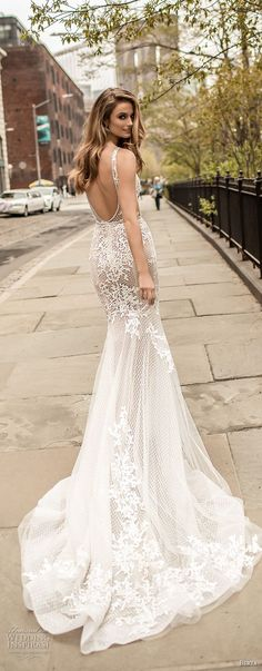 94d8574b0ff berta spring 2018 bridal thin strap deep plunging v neck full embellishment  elegant sexy fit and