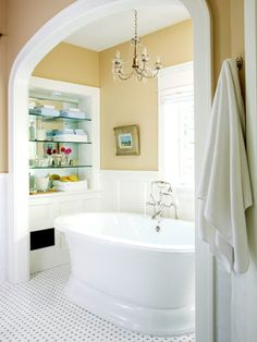 Bath tub nook - i like that it has its own place, no bunched in with the rest of the bathroom.