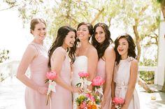 The single flower + ribbon bridesmaids' bouquet. I die. {Picotte Weddings}