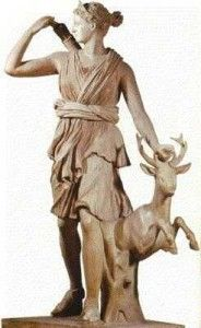ARTEMIS (Roman DIANA) daughter of Zeus and Leto (although some ancient Greeks (Arcadian's) believe her mother could be the Goddess Demeter). She is the Goddess of hunting, the wilderness and wild animals. She was also known has the moon Goddess, riding a silver chariot across the night sky shooting beams of light via her arrows. It was believed she was the guardian of premarital mortal girls even though it is said she killed any mortal man who saw her. She is the twin sister of Apollo.