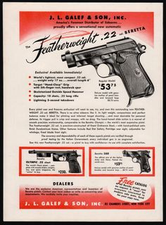 1951 BERETTA Featherweight .22 Vintage Antique Pistol AD shown w/Olympic, .380 #SmithWesson