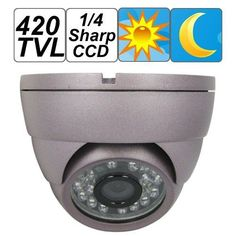 SecurityIng - 1/4 Inch Sharp CCD 420 TV Lines Vandal Proof Dome IR Indoor Outdoor Environments Day Night Security Camera by SecurityIng. $25.35. Material: Aluminum Alloy.  Minimum Illumination: 0.000 LUX x F1.2.(IR LED ON). Video Output: 1Vp ~ p.75. Shutter Speed: 1/50 ~ 1/100,000 Second. Scanning Mode: 2:1. S/N Ratio: > 48db (AGC OFF). CDS Sensor: YES.  Waterproof: NO. Operating Temperature: -10 ~ 50 Degrees Celsius. Operation Humidity: RH95%. Dimensions: Dia...