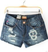 Blue Destroyed Skull Denim Shorts $29.68 #SheInside