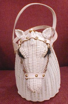 Vintage 1960's Marcus Brothers Hong Kong White Wicker Rattan Horse Head Purse