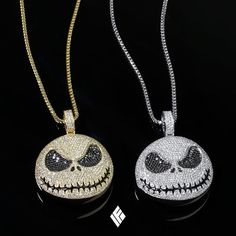 Solid Yellow & White Gold Baby Sized Jack Skellington Pendants Fully Iced Out With VS+ White Diamonds & Black Diamonds Finished With Enamel Stitches. Chain Pendants, Pendant Jewelry, Gold Jewelry, Chain Jewelry, Gold Chains For Men, Mens Chains, Enchanted Jewelry, Mens Chain Necklace, Pendant Design