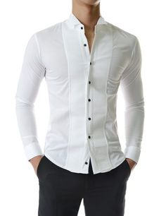Fashionable Tuxedo Slim Wing Collar Pintuck Long Sleeve D ress Shirts Blazer Outfits Men, Stylish Mens Outfits, Stylish Shirts, Indian Men Fashion, Mens Fashion Suits, Gents Shirts, Formal Men Outfit, Formal Shirts For Men, Mens Designer Shirts