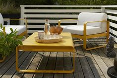 We are the partner for Fermob in New Zealand. Discover the Fermob Bellevie Armchair - Off White Cushions here. Visit the NZ Fermob experts! Yellow Outdoor Furniture, Outdoor Furniture Design, Garden Furniture, Outdoor Lounge, Outdoor Seating, Outdoor Tables, Outdoor Living, Outdoor Decor, Patio Dining