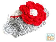 SALE Sock Monkey Beanie with Big Flower - READY to SHIP Handmade Crochet Hat for Newborn