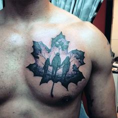 Beautiful Family Inside Clover Tattoo Guys Chest