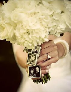 Personalized Wedding Bouquet Photo Frame Charms. In memory of those who can't be there. So great idea!