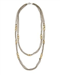 Curb Link and Chain Necklace,Gold / Silver