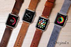 Handmade Apple Watch Adapter Vintage Leather Watch Band/Strap Orange/Dark Brown Grey smartwatch Omega Panerai Seiko Rolex Moto 360 pebble