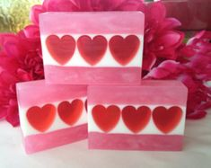 Valentine's Day Soap - Sweetheart soap - Plumeria glycerin soap - Valentine Soap - Heart soap - Gift for girlfriend, wife, mom, daughter