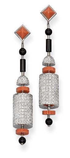 A PAIR OF DIAMOND, CORAL AND ONYX 'CYLINDRE' EAR PENDANTS, BY KOENIG
