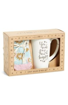Main Image - Natural Life 'You Make My Heart Happy' Cozy Socks & Ceramic Mug Gift Set