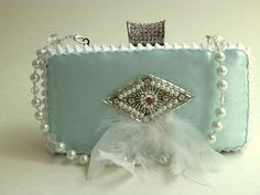 mint satin bridal clutch, evening bag, clutch purse, spring wedding, bridal bag, maid of honor, Gatsby, flapper, mother of bride, prom