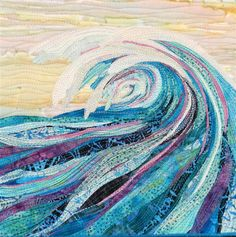 The Blue Wave. Fiber art by Eileen Williams Fiber Art Quilts, Textile Fiber Art, Textile Artists, Landscape Art Quilts, Landscapes, Ocean Quilt, Nautical Quilt, Free Motion Embroidery, Textiles