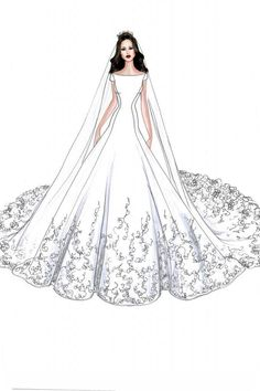 Meghan Markle's Wedding Dress Will Look Like This, According to These Designers' Sketches Wedding Dress Drawings, Wedding Dress Illustrations, Design Illustrations, Dress Design Drawing, Dress Design Sketches, Fashion Drawing Dresses, Fashion Illustration Dresses, Drawing Fashion, Fashion Design Portfolio