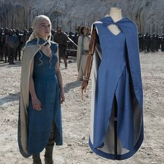 Game of Thrones Daenerys Targaryen Costume Blue Dress Cloak Mother of Dragons Dress Adult Women Halloween Costume Custom Made
