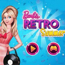 Barbie Retro Summer: Barbie quer ficar na moda neste verão e conta com sua ajuda! Barbie vai receber amigos, por isso gostaria de redecorar seu terraço dando um toque retrô. Depois monte um look fabuloso para nossa linda fashionista.