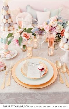 Pastels & Gold for a dreamy spring wedding table scape. Summer Opulence, Marie Antoinette Style! | Styled Shoots | The Pretty Blog