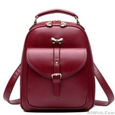 811546591e48 Cute Girls  Bow Buckle Student Bag Simple PU College Backpack Lace Backpack