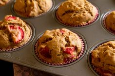 Strawberry Banana Muffins (12)  1/2 cup unsalted butter, melted 3/4 cup light brown sugar 2 eggs, beaten 1 tsp pure vanilla extract 2 ripe bananas, mashed 1 cup fresh strawberries, chopped 2 1/4 cups AP flour (I like Tom Sawyer's gfree) 1.5 tsp baking powder 1/4 tsp baking soda 1 tsp cinnamon 1/2 tsp salt  mix all dry ingredients together. mix all wet ingredients together (including banana). fold in strawberries. scoop into muffin tins, bake at 350 for 20-25 minutes, 'til firm.