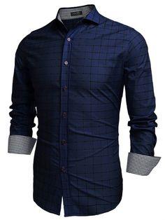 COOFANDY Men Fashion Turn Down Collar Long Sleeve Plaid Cotton Button Down Casual Shirts #Fashion