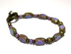 Perwinkle Blue Beaded Bracelet German Vintage Glass by KyleyCo, $25.00