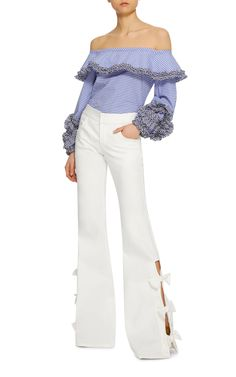 ALEXIS ~ ~ SS17  Alexander Bow Pants  Cutouts with bow details at sides  Front pockets;  Unlined  Composition: 41% tencel, 27% cotton, 29% polyester, 3% other  Color: white  Concealed zip fly with hook and eye fastening  ||| Moda Operandi |||