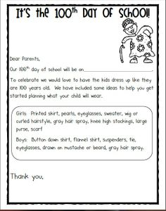 letter to parents about dressing like 100 year olds for the 100 day 100 Day Of School Project, 100 Days Of School, School Holidays, School Fun, School Stuff, School Projects, Notes To Parents, Letter To Parents, Parent Letters